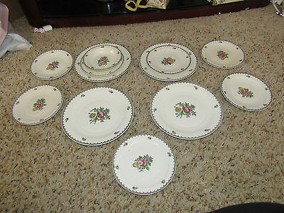 12 pc Adams Chelsea Garden English Ironstone Plates saucers bowl