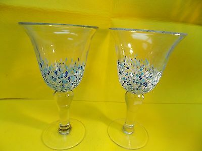 Wine Goblet Glasses-Beautiful Set Of 2- Hand Painted- Blue & White Dots- Large