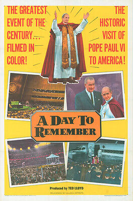 POPE PAUL VI U.S. PAPAL VISIT original1965 1sheet movie poster A DAY TO REMEMBER