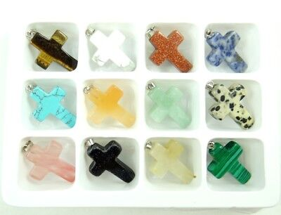 Wholesale 12PC Beautiful Carved Mixed agate Gemstone Cross Pendant Loose Beads