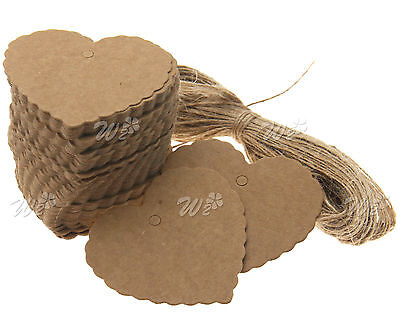 100 x Brown Heart Shape 6 X 5.5CM Kraft Paper Hang Tags Gift Price Lables