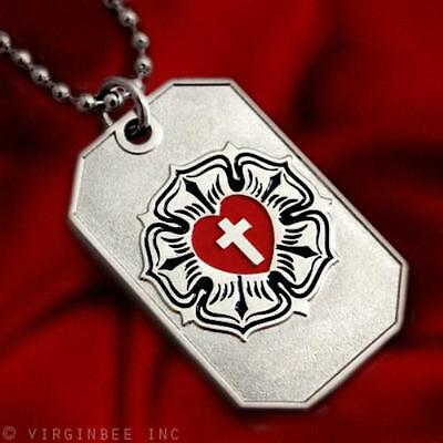 Luther Rose Cross Pendant Lutheran Churh Symbol Charm Dog-Tag Chain Necklace