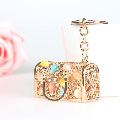 New Stylish Box Bag Pendent Charm Crystal Purse Bag Keyring Chain Accessories
