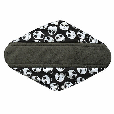 1 Overnight Skull Washable CHARCOAL Bamboo Cloth Mama Menstrual Sanitary Pad XL