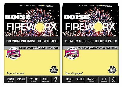 Boise Fireworx Colored Paper 20 lb Crackling Canary Ream Pack of 2 - New Item