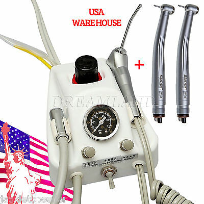 Dental Portable Turbine Unit Air Water Syringe + 2 High speed Handpiece 4H USA