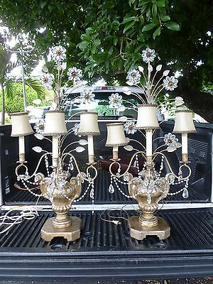 60's Italian Carved Gilt Wood & Macaroni Crystal Lamps W Murano Glass Flowers  P