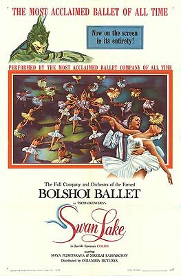 BOLSHOI BALLET original 1960 movie poster SWAN LAKE one sheet 27x41