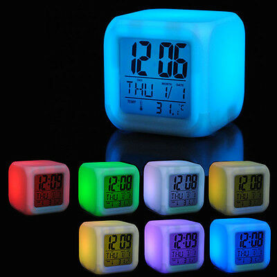 7 Colors LED Glowing Change Digital Calendar Alarm Thermometer Clock Cube