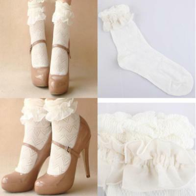 Retro Style Lace Ruffle Frilly Ankle Short Socks Ladies Princess Girl Stockings