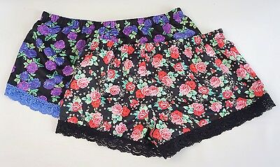 Material Girl Floral Satin Sleepwear Lace Tap Shorts Pants Women's S,M