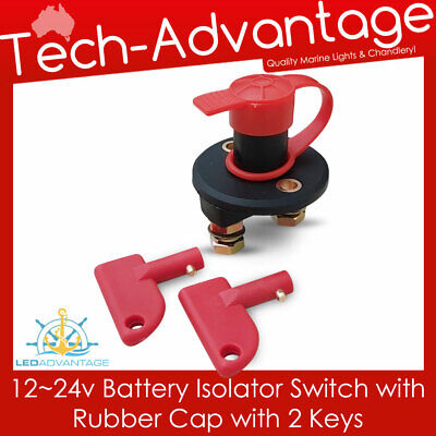 12V 24V Marine Caravan Waterproof Battery Isolator Cut Off Kill Switch & 2 Keys