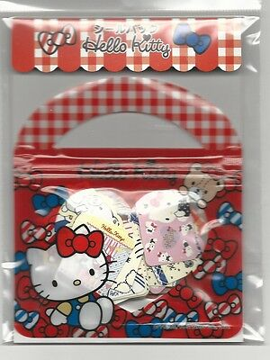 Sanrio Hello Kitty Sack of Stickers With Pouch Bows Plaid