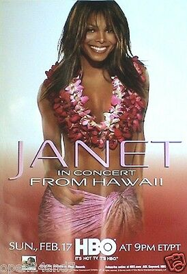"""JANET JACKSON """"HBO IN CONCERT FROM HAWAII"""" U.S. PROMO POSTER-Flower Lai On Janet"""