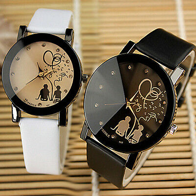Women Girl Faux Leather Band Watch Quartz Analog Cartoon Lovers Wrist Watch Gift