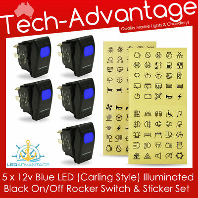 5 X 12V Carling Style On/off Rocker Blue Led Illuminated Switches & Stickers