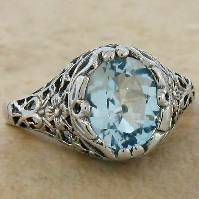 2 Ct Genuine Sky Blue Topaz Antique Design .925 Sterling Silver Ring,       #695