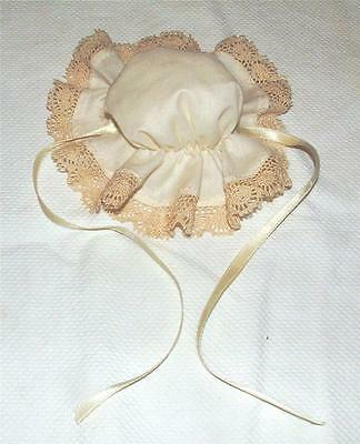 Pretty Vintage Hand-Made Ivory Color Cotton Vintage Lace Trimmed Doll Duster Cap