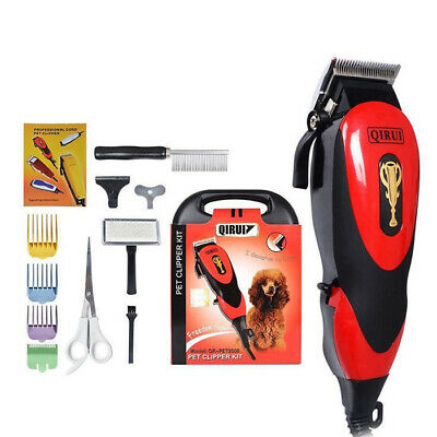 Pro Electric Pet Dog Clipper Kit Blade Comb Set Cat Animal HairTrimmer Grooming