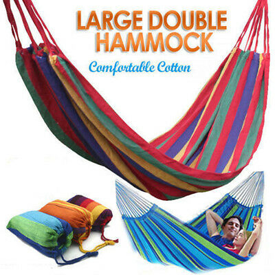 Double Cotton Fabric Hammock Air Chair Hanging Swinging Camping OR Hook S Rings