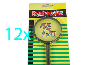 12 X 75mm Black MAGNIFYING GLASS Magnifier 5x Loupe Handheld Reading