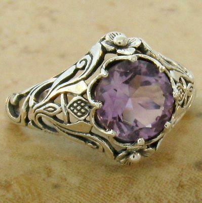 GENUINE BRAZILIAN AMETHYST Scottish Thistle .925 STERLING SILVER RING,    #567