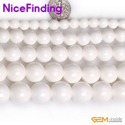 Wholesale Natural White Shell Round Stone Beads For Jewelry Making Gemstone 15""