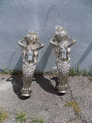 Fabuluous Vintage Architectural Chromed Mermaid Figures Great For A Staircase