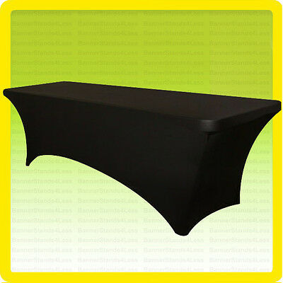 SPANDEX 8 Ft Fitted Tablecloth Wedding Banquet Party Stretch Table Cover, BLACK
