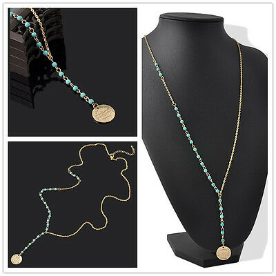 New Arrival Long Sweater Chain Necklace Pendant Charm Blue Bead Gold Color 1pc