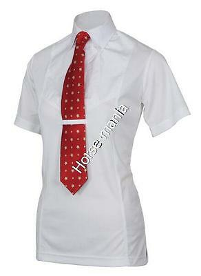 Shires Ladies Short Sleeved Tie Show Shirt Yellow, White, Blue (9993)