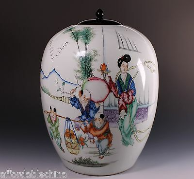 """19th Century Chinese Porcelain Ginger """"Famille Rose"""" Jar with Calligraphy - A"""