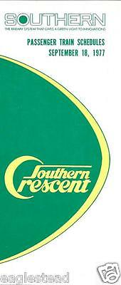Railroad Timetable - Southern - 18/09/77 - Crescent