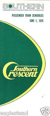Railroad Timetable - Southern - 01/06/75 - Crescent