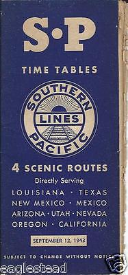Railroad Timetable - Southern Pacific - 12/09/43 - 4 Scenic Routes