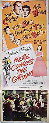 Here Comes The Groom (1951) Bing Crosby * Frank Capra Orig 14X36 Insert Poster