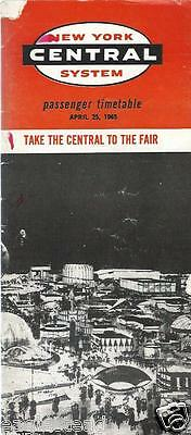 Railroad Timetable - New York Central - 25/04/65