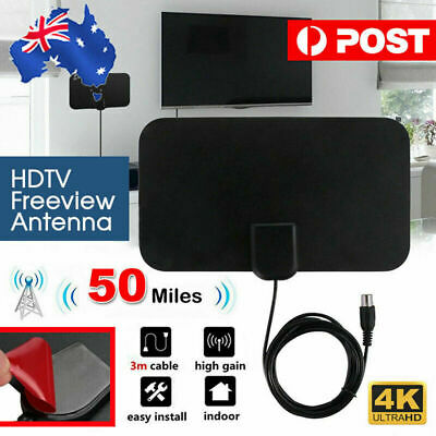 Indoor Digital HDTV Freeview Antenna with TV Aerial Amplifier 50 Mile Range Thin