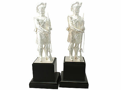 Pair of Sterling Silver 'Gordon Highlanders' Table Ornaments - Contemporary