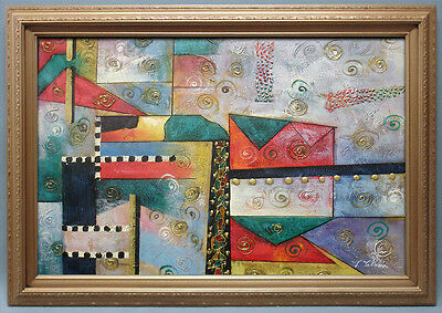 """Contemporary Framed Oil Painting of Abstract with Nice Colors and Pattern 30x42"""""""