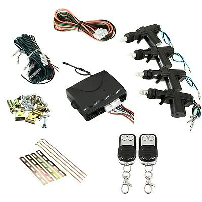 Car Central Lock 4 Door Locking Keyless Entry Kit System W/ 2 Remote Controlers