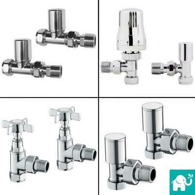 Angled & Straight Designer Radiator Compact Towel Rail Valves Thermostatic 15mm