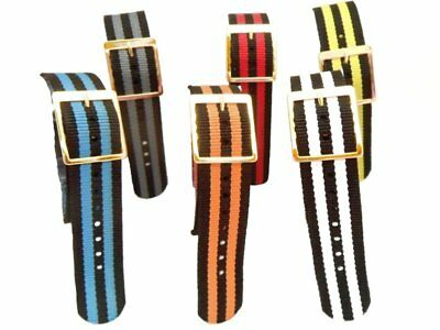 Nylon One Piece Striped 18mm Watch Strap (various colours)#g