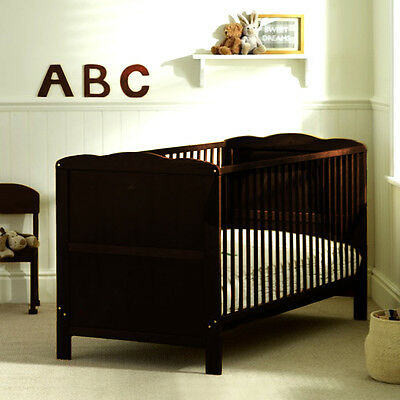 New 4Baby Cocoa Dark Wood Classic Baby Cot Bed Childs Cotbed From Birth