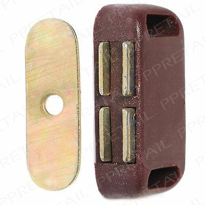 SMALL MAGNETIC DOOR CATCH Cabinet/Cupboard Door Lock Drawer Holder Brown Strong