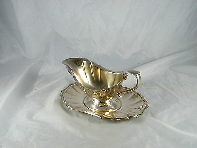 Vintage ~  Gorham Heritage Silver Plate Gravy Boat And Plate ~  # Yh17-1 Fluted