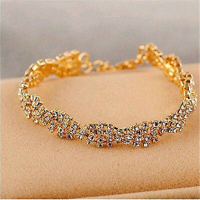 New Womens Fashion Gold Silver Clear Crystal Charm Chain Bangle Bracelet Jewelry