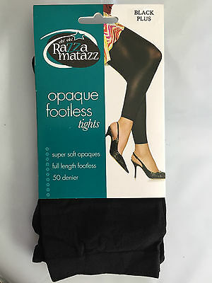 BNIP Razzamatazz Brand Black Plus Size 50 Appearance Opaque Footless Tights