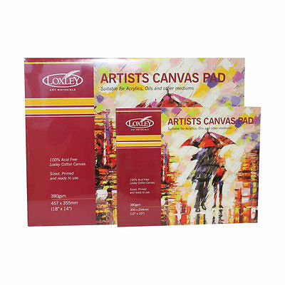 """LARGE 18"""" x 14"""" LOXLEY BLANK CANVAS ARTIST PAD 380gsm COTTON PRIMED OIL ACRYLIC"""