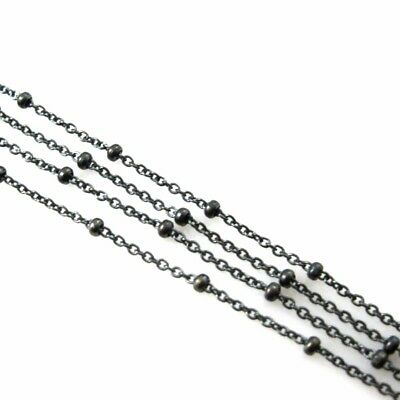 Sterling Silver Chain, Oxidized Chain, Bulk Chain, Beaded Cable Chain 1.6mm